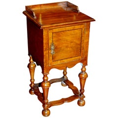 Fine Old English Burr Walnut Wm. & Mary Style Bed/Chair Side Table, Heal and Son