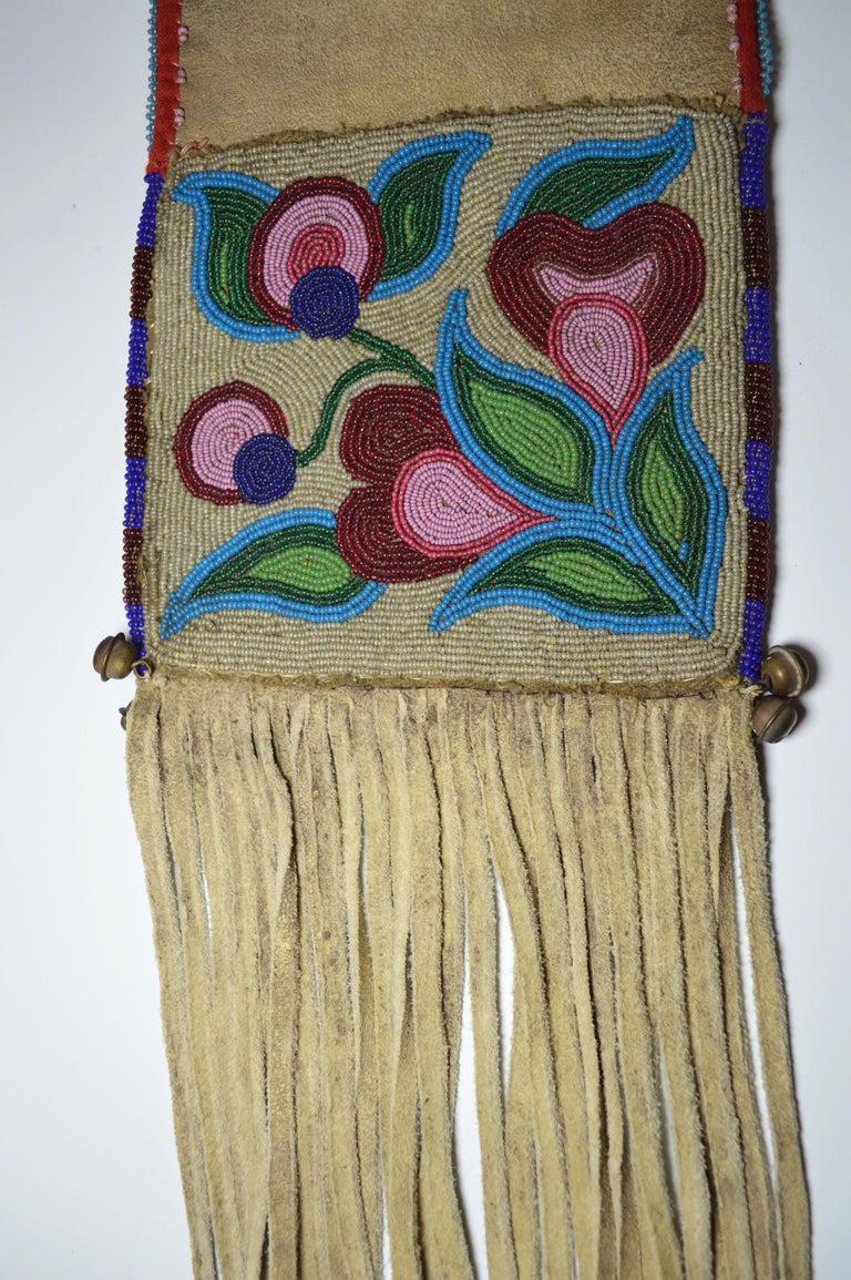 North American Fine Old Native American Ojibwe Beaded Pipe bag For Sale
