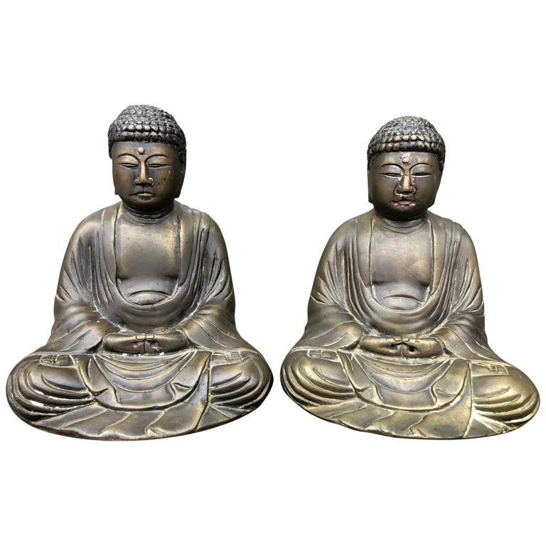 Fine Old Pair Japanese Bronze Seated Buddhas For Sale At