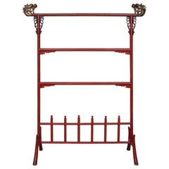 Fine Older Chinese Robe Rack in Cinnabar Paint