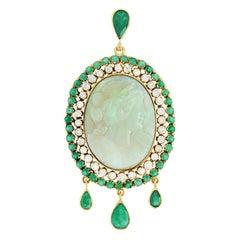 Fine Opal Cameo Emerald and Diamond Set Gold Pendant