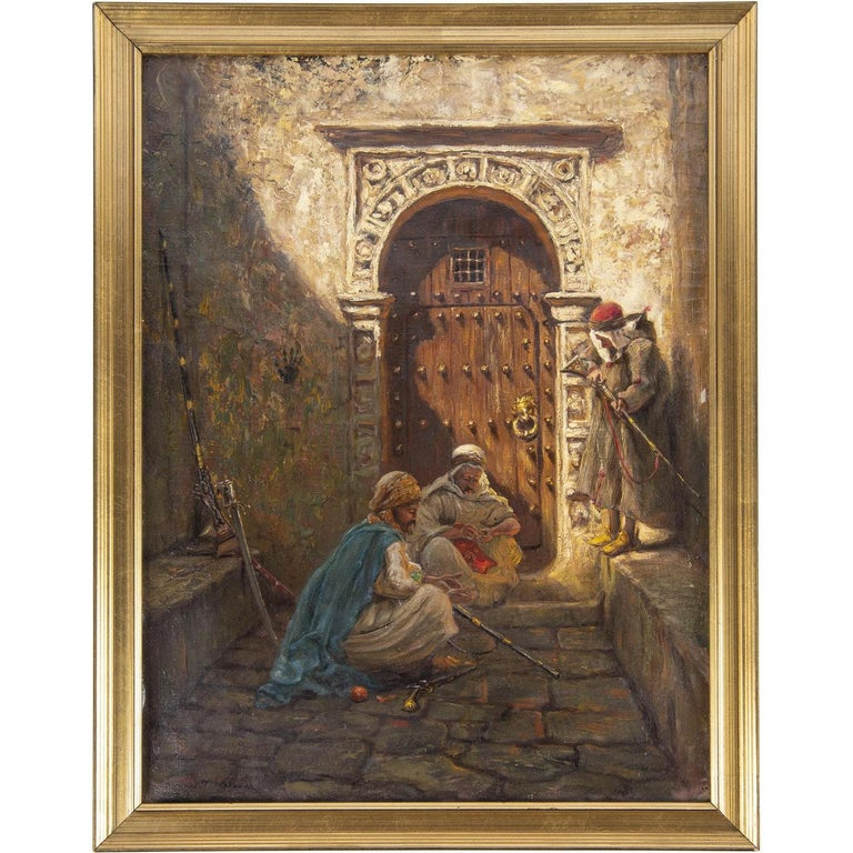 Title: Guarding the Harem Artist: Addison Thomas Millar (1860-1913) Origin: American Date: 19th century Medium: Oil on canvas Signature: Signed 'Addison T. Millar' L/L Dimension: 23 3/4 in. x 17 3/4 in. Canvas; 26 1/2 in. x 20 1/2 in. Frame.