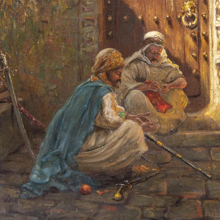 Fine Orientalist Painting Entitled Guarding the Harem by Addison Millar In Good Condition For Sale In New York, NY