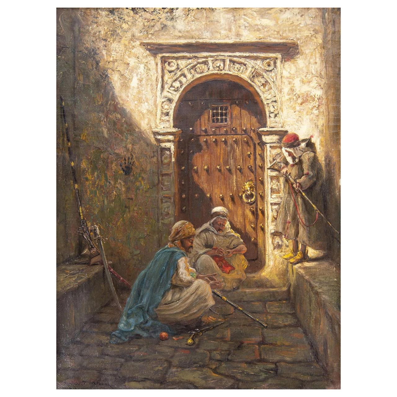 Fine Orientalist Painting Entitled Guarding the Harem by Addison Millar