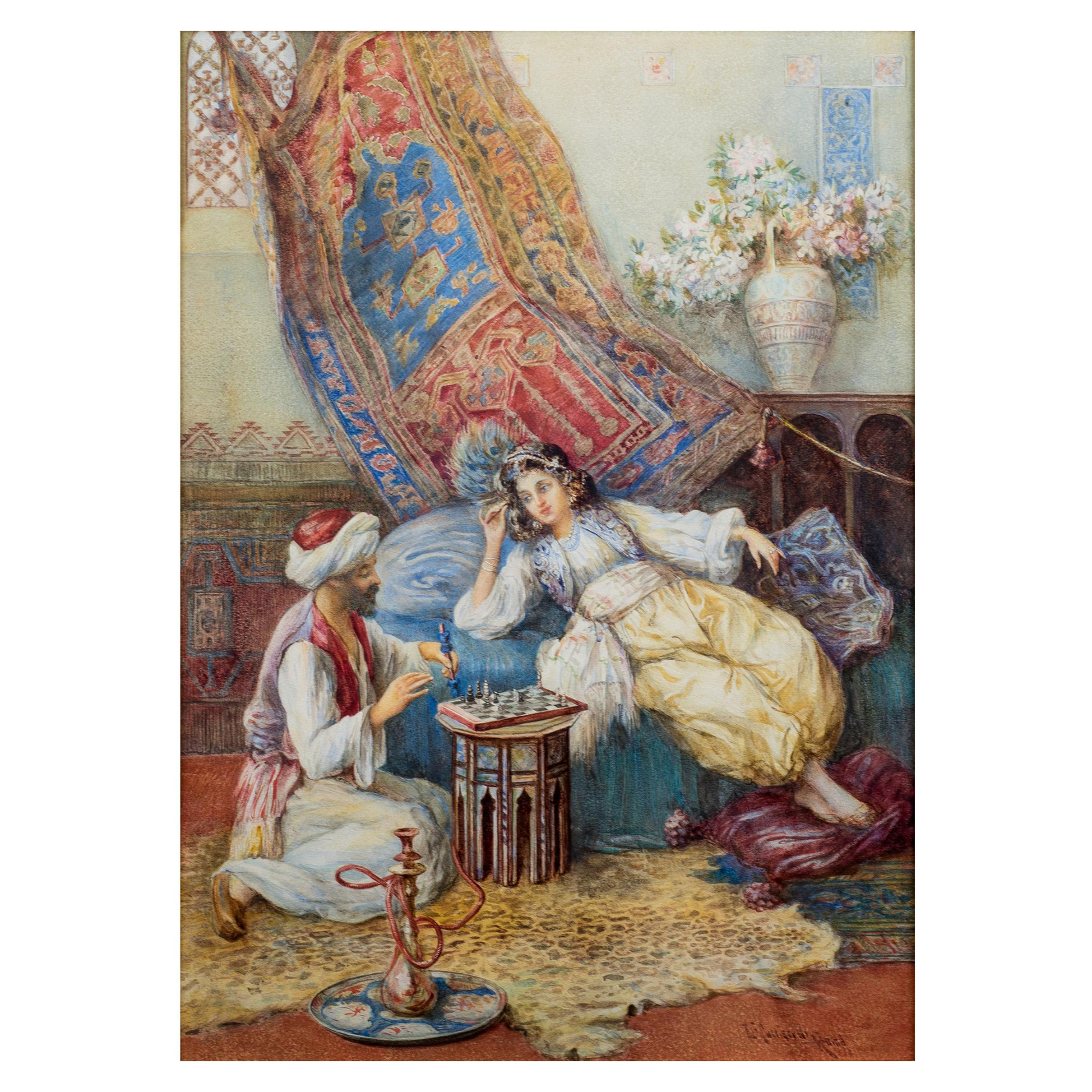 Fine Orientalist Painting Entitled 'The Chess Game' by Umberto Cacciarelli
