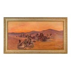 Fine Orientalist Painting of a Bedouin Camp by Otto Pilny