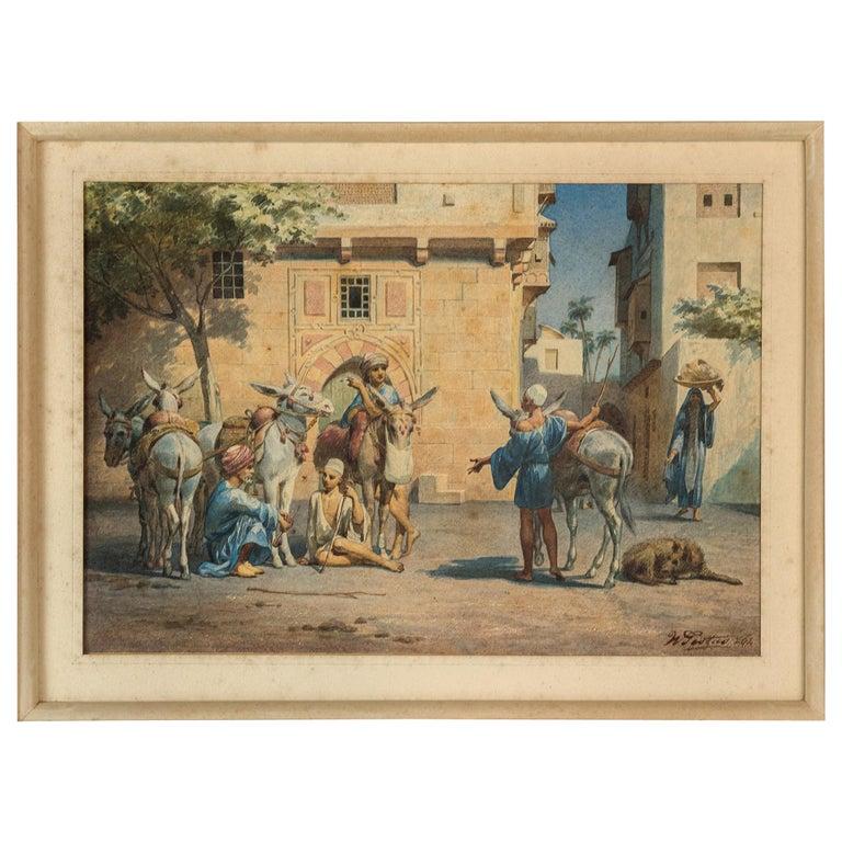 Fine Orientalist Watercolor Painting by W. Testas For Sale
