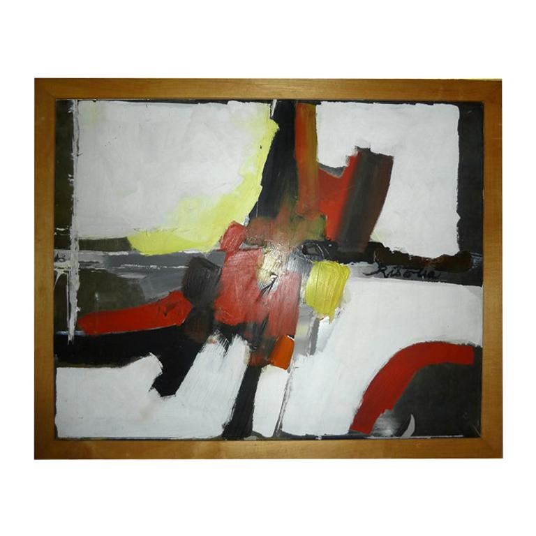 Fine Original Abstract Oil Painting Signed Risolia For Sale