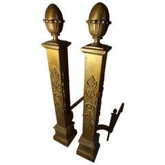 Fine Original Patina Large Brass French Napolean III Andirons
