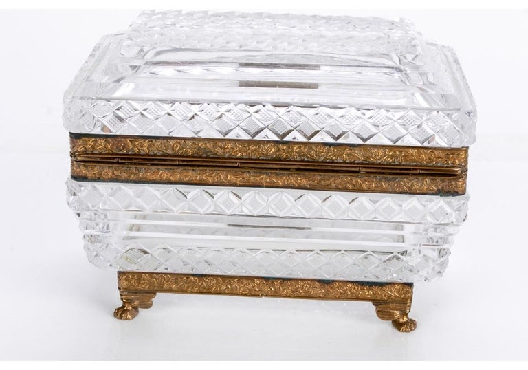 Hollywood Regency Fine Ormolu Mounted Crystal Box in the Style of Baccarat For Sale
