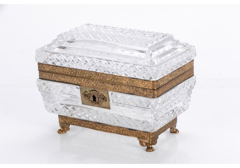 20th Century Fine Ormolu Mounted Crystal Box in the Style of Baccarat For Sale