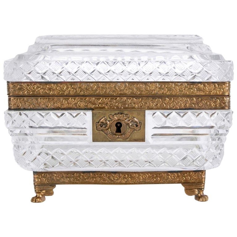 Fine Ormolu Mounted Crystal Box in the Style of Baccarat For Sale
