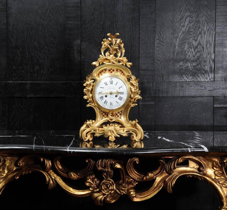 Fine Ormolu Rococo Clock by Henry Lepaute For Sale 5