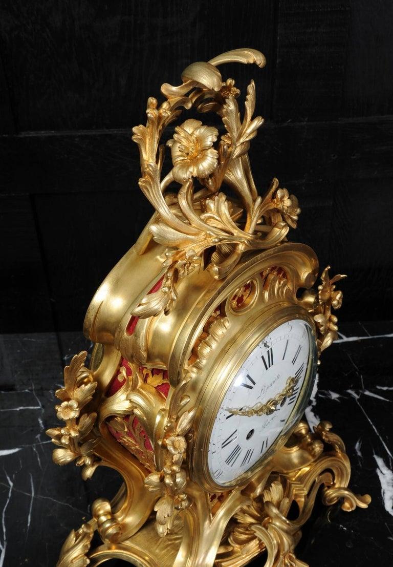 Fine Ormolu Rococo Clock by Henry Lepaute For Sale 6