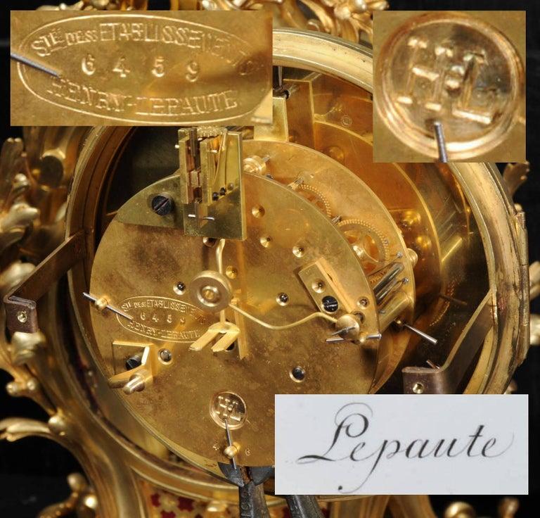 Fine Ormolu Rococo Clock by Henry Lepaute For Sale 8