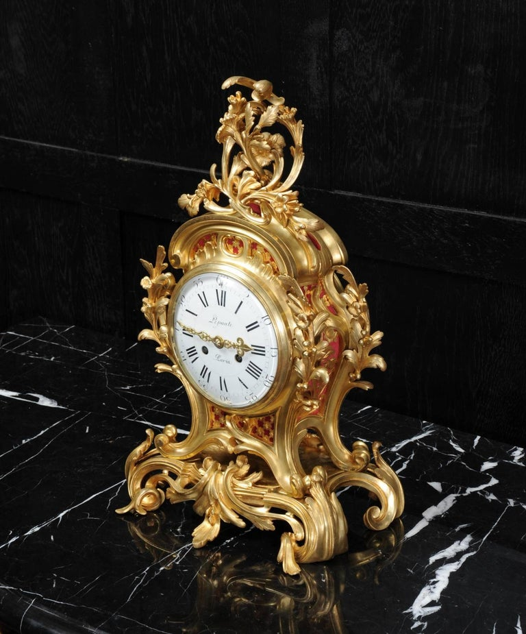 French Fine Ormolu Rococo Clock by Henry Lepaute For Sale