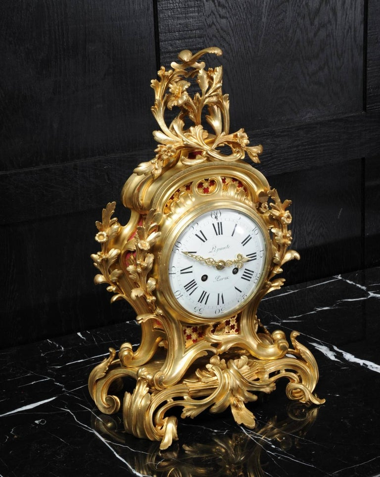 Fine Ormolu Rococo Clock by Henry Lepaute For Sale 2