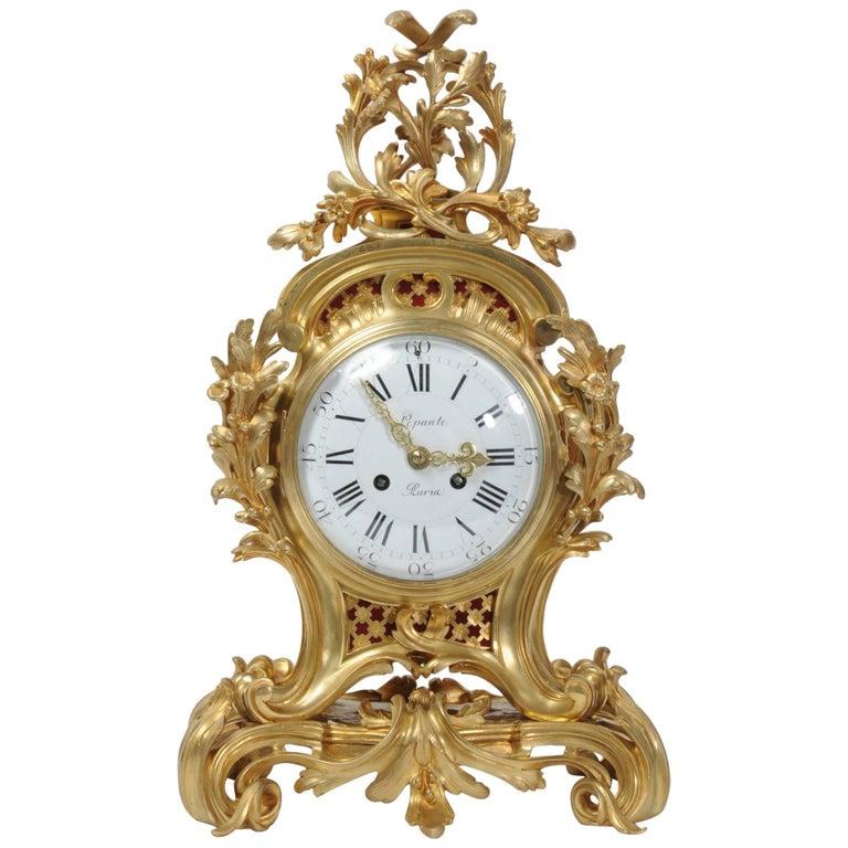 Fine Ormolu Rococo Clock by Henry Lepaute For Sale