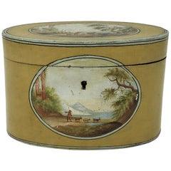 Fine Oval Tea Caddy, Polychrome, Hand Painted Landscape, circa 1750