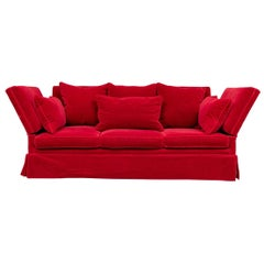 Fine Over-Scale Knowle House Style Sofa in Lipstick Red Mohair