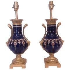 Fine Pair 19th Century Jewelled Sevres Blue Porcelain Lamps