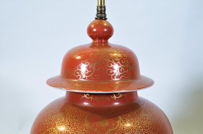 Fine pair Antique Chinese Export Orange Ground & 24K Gilt Vases Turned to Lamps For Sale 4