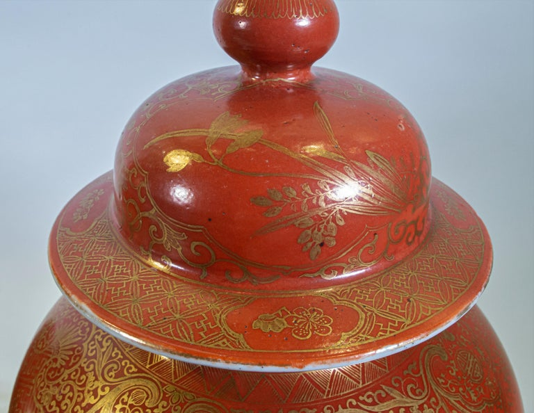 Fine pair Antique Chinese Export Orange Ground & 24K Gilt Vases Turned to Lamps For Sale 5