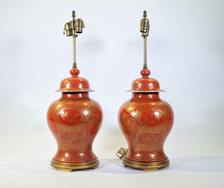 Hand-Painted Fine pair Antique Chinese Export Orange Ground & 24K Gilt Vases Turned to Lamps For Sale