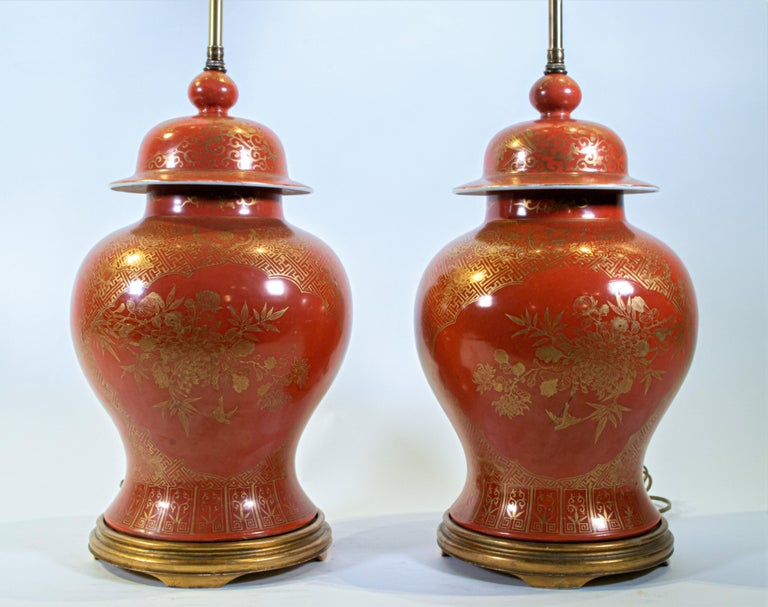 Mid-19th Century Fine pair Antique Chinese Export Orange Ground & 24K Gilt Vases Turned to Lamps For Sale