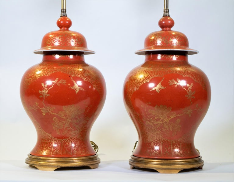 Porcelain Fine pair Antique Chinese Export Orange Ground & 24K Gilt Vases Turned to Lamps For Sale