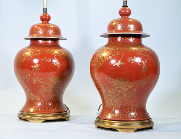 Fine pair Antique Chinese Export Orange Ground & 24K Gilt Vases Turned to Lamps For Sale 1