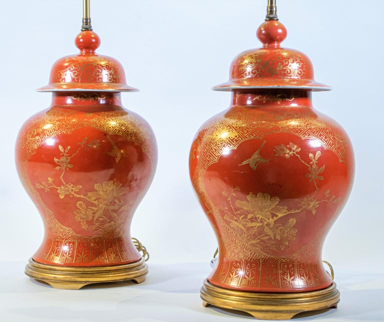 Fine pair Antique Chinese Export Orange Ground & 24K Gilt Vases Turned to Lamps For Sale 2