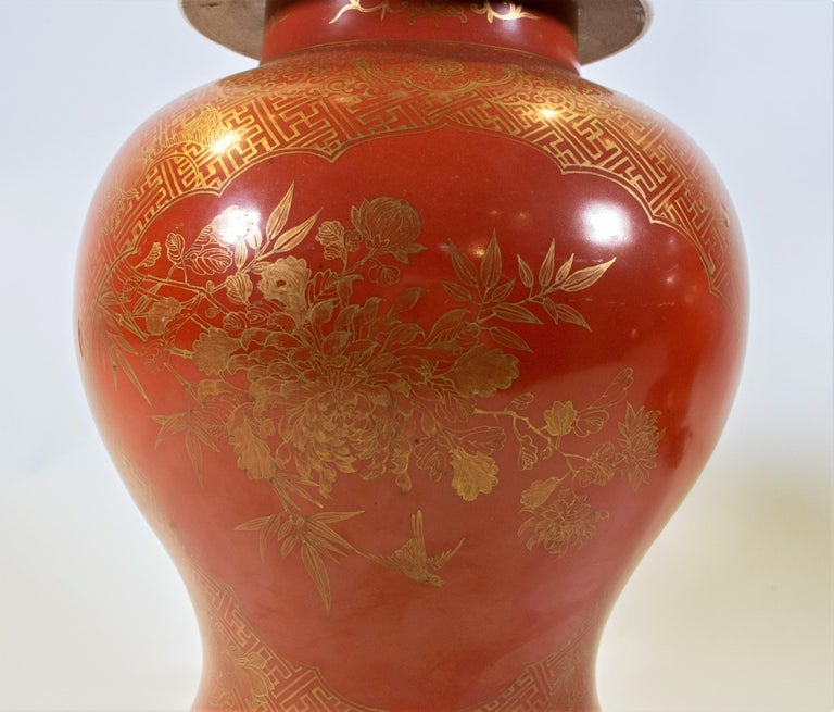 Fine pair Antique Chinese Export Orange Ground & 24K Gilt Vases Turned to Lamps For Sale 3