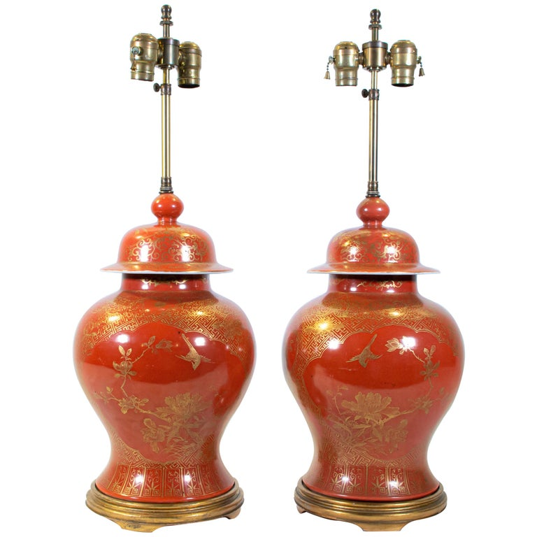 Fine pair Antique Chinese Export Orange Ground & 24K Gilt Vases Turned to Lamps For Sale