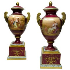 Fine Pair of Austrian Royal Vienna Mythological Themed Hand Painted Vases