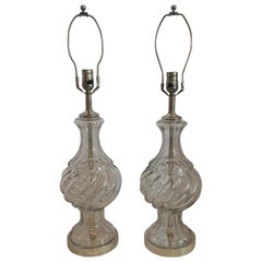 Fine Pair of Baccarat Mid-Century Modern Swirl Crystal Urn Silvered Bronze Lamps