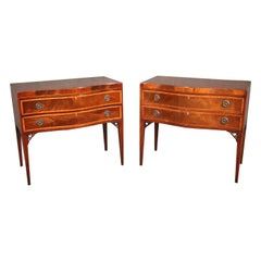 Fine Pair Baker Banded Flame Mahogany Two Drawer Console Tables Buffets C1940