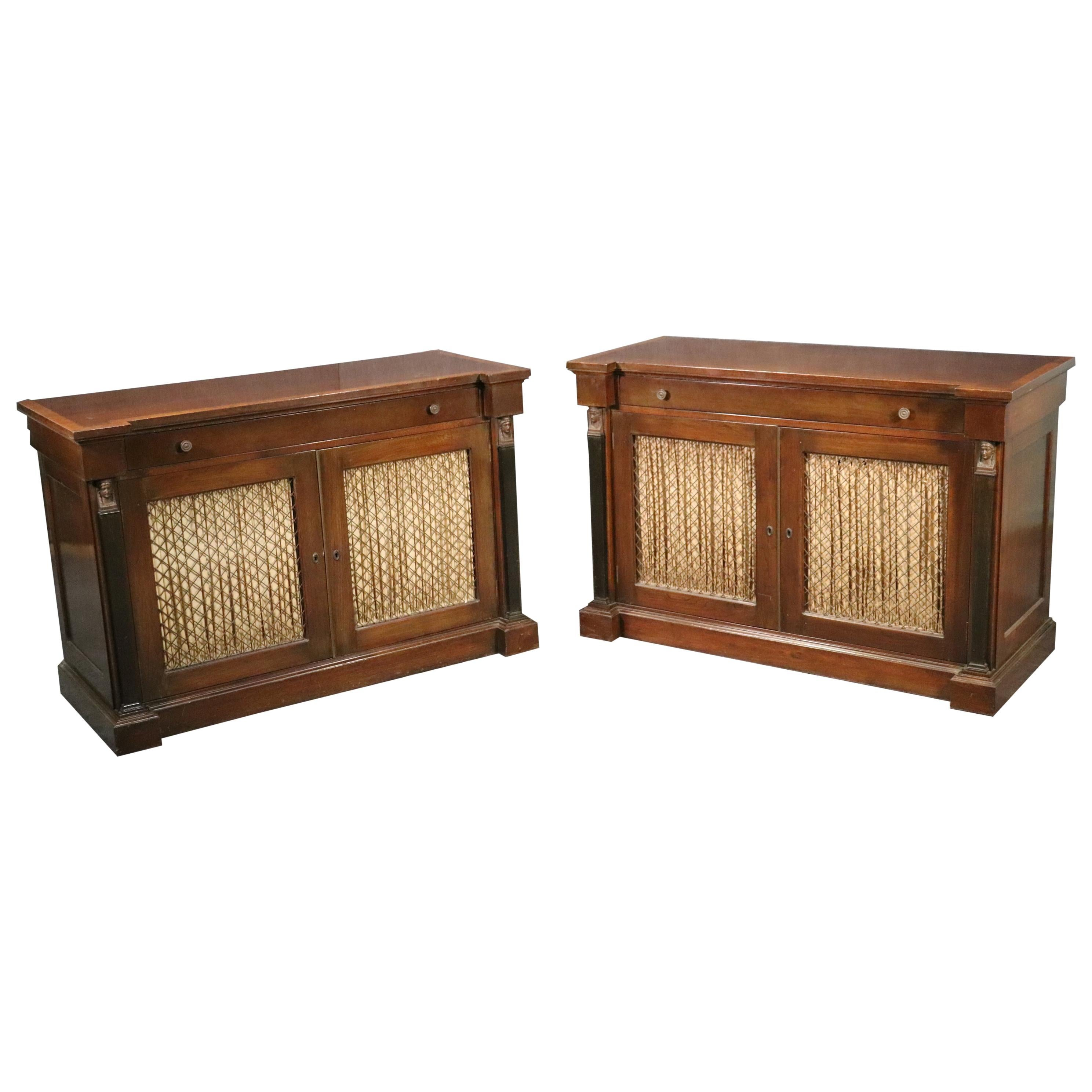 Fine Pair Banded Rosewood English Regency Side Cabinets, C1930s