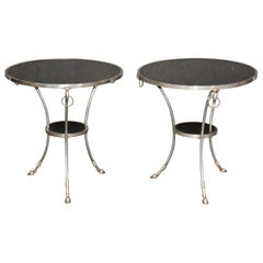 Fine Pair of Black Marble-Top Steel French Louis XVI Gueridons End Tables