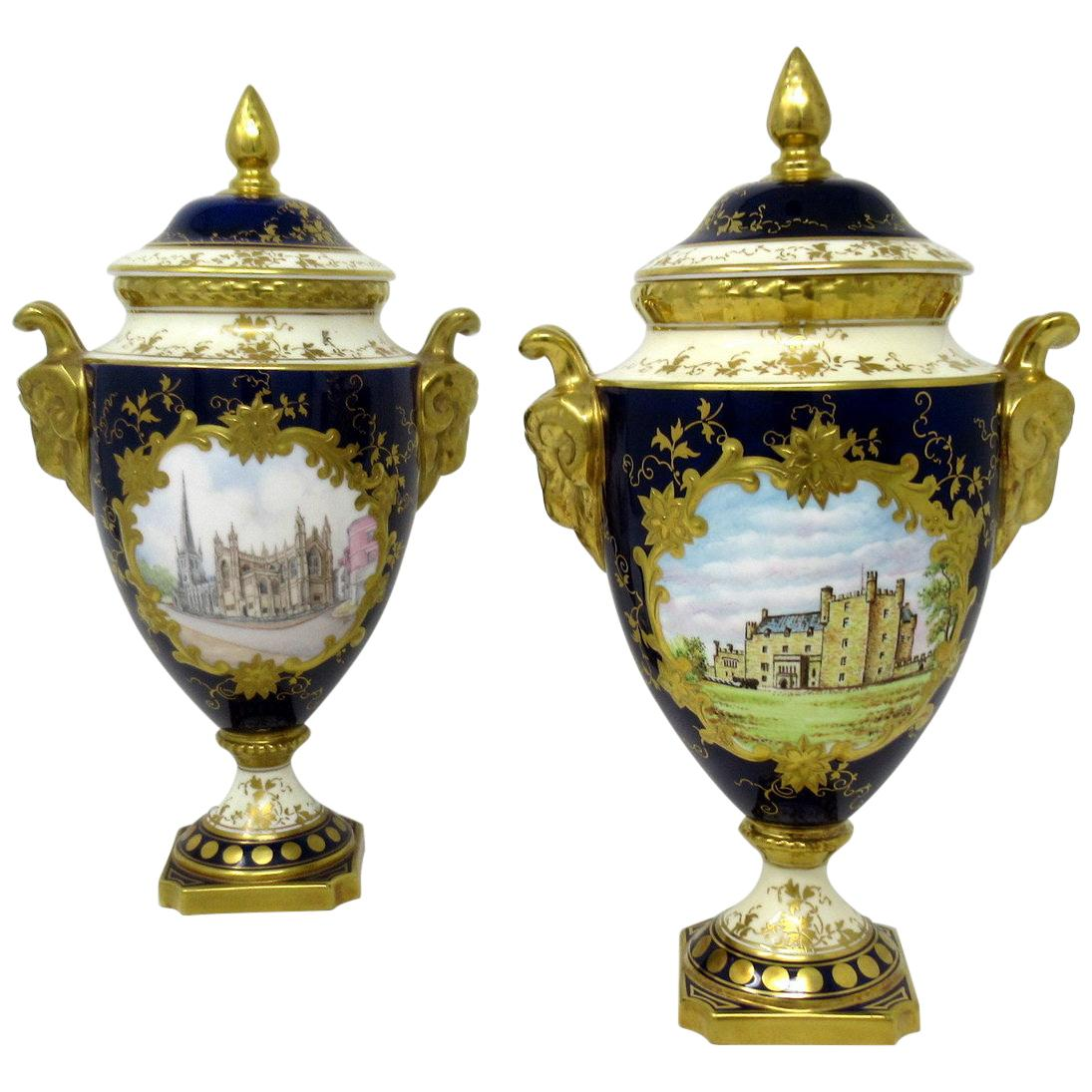 Fine Pair of Coalport Urns Hand Painted Signed Norman Lear Malcolm Harnett