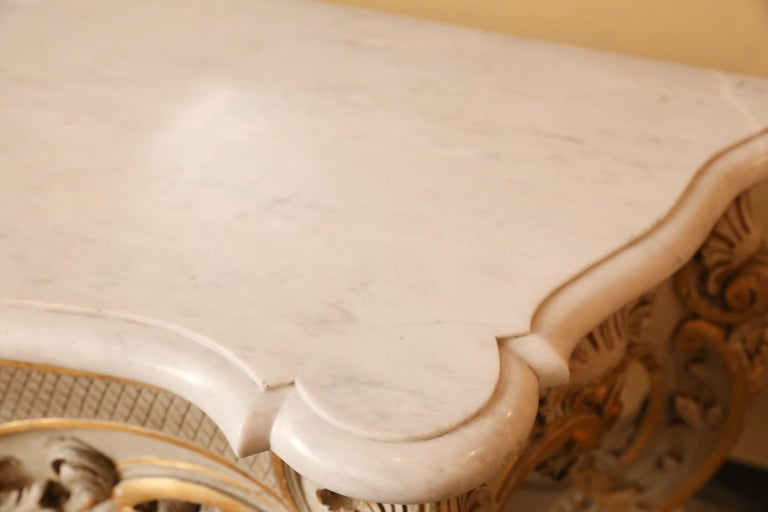 Pair of French Carved Louis XV Consoles, Marble Tops, Parcel Paint/Gilt Finish For Sale 4