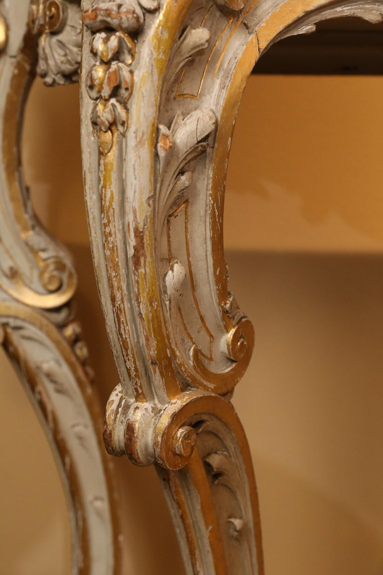 Pair of French Carved Louis XV Consoles, Marble Tops, Parcel Paint/Gilt Finish For Sale 1