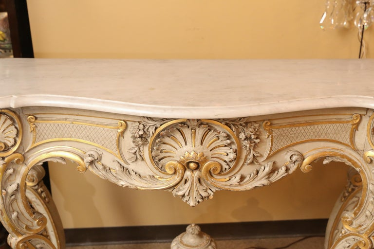 Pair of French Carved Louis XV Consoles, Marble Tops, Parcel Paint/Gilt Finish For Sale 2