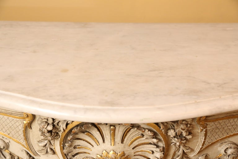 Pair of French Carved Louis XV Consoles, Marble Tops, Parcel Paint/Gilt Finish For Sale 3