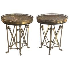 Fine Pair French Louis XVI Bronze Ormolu Marble-Top Oval Guéridon Gallery Tables