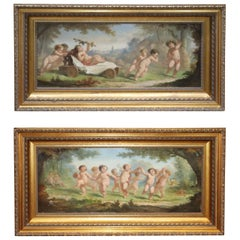 Pair French Signed A. Vion French 19th Century Paintings Putti Cherubs at Play