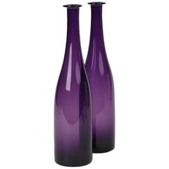 Fine Pair of Georgian Amethyst Glass Wine Decanters