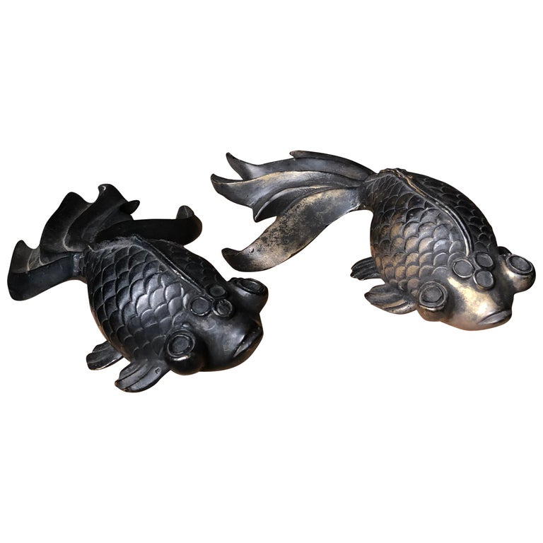 "Fine Pair Japanese ""Gold Fish"" Hand Cast Bronzes Bulging Eyes and Graceful Tails For Sale"