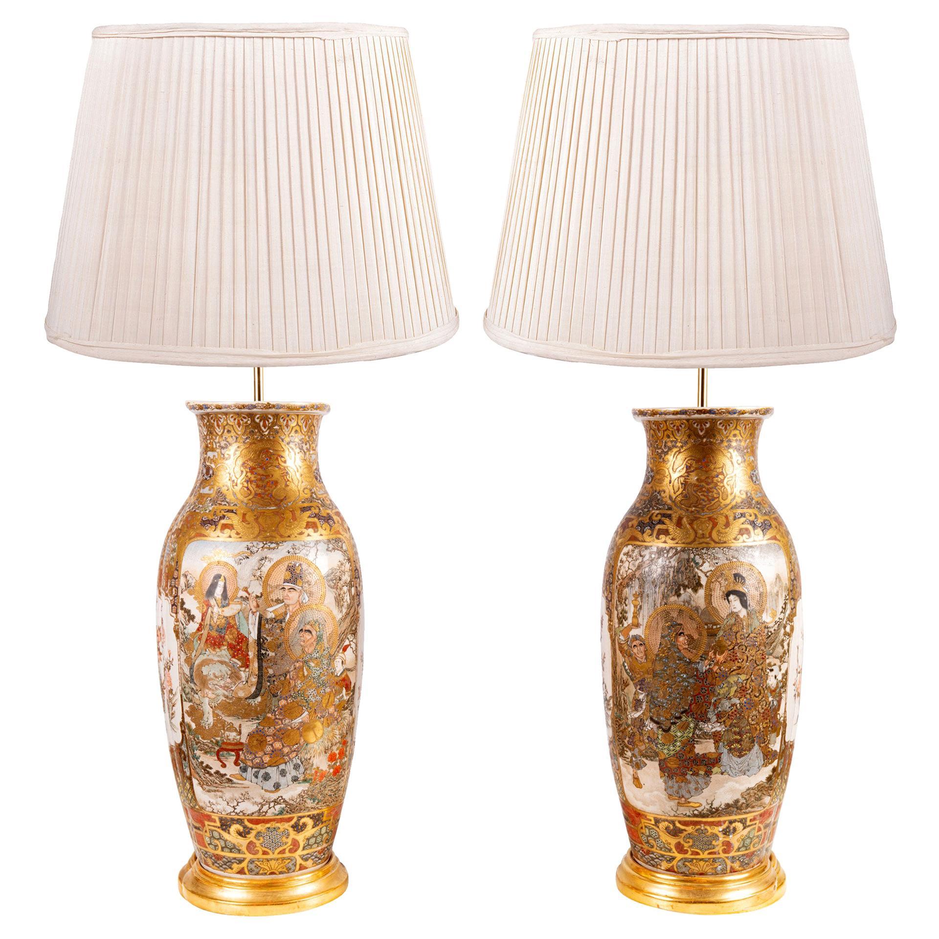 Fine Pair of Japanese Satsuma Vases / Lamps, 19th Century Vases