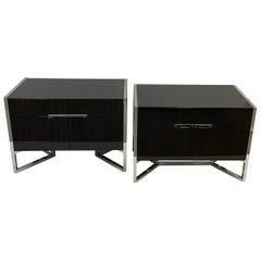 Fine Pair Lorin Marsh Curly Macassar Ebony Polished Nickel Chests Cabinets